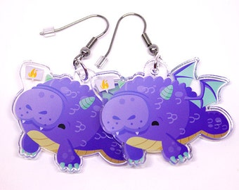 Dragonatee, Cute Manatee Earrings, sea cow, dragon, dragon earrings, kawaii, cute manatee, fun accessories, unique jewelry