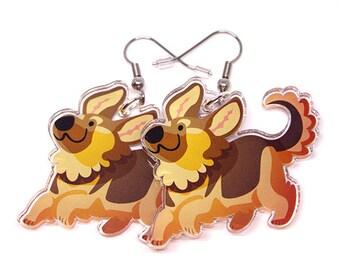 Cute German Shepherd Earrings, dog earrings, cute dog, Dog lover, dog owner, German Shepherd, puppy, puppies, animal lover, kawaii