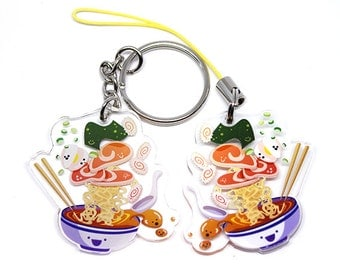 Cute Ramen Keychain, Cute Ramen Phone Charm, ramen, japan, kawaii food, kawaii ramen, cute anime, cute food, japanese, iitadakimasu, oiishi