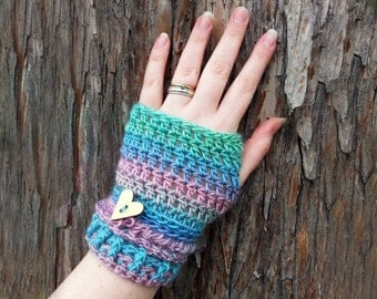 Crochet Fingerless Gloves - Pastel Clothing - Womens Fingerless Gloves - Fingerless Mittens - Wrist Warmers - Crochet Arm Warmers