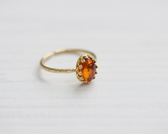 Warm Amber Hammered Brass Ring