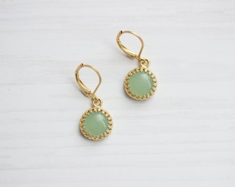 Filigree Aventurine Golden Brass Earrings
