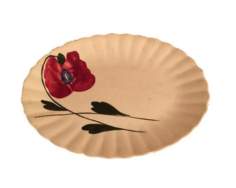 Mid Century Platter with Flower and Stem, Vintage