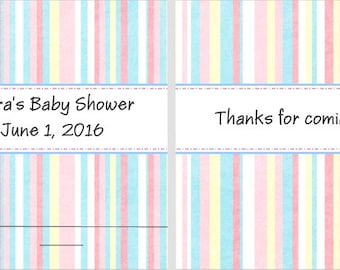 10 Pastel Striped Multi Colored Baby Shower Nail Favors