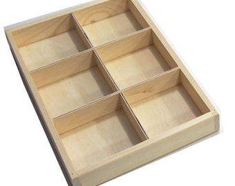 Plain Wooden Display Unit Display Jewelery Shelves Trinket Shelf Tray 6 compartments