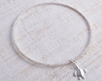 Sterling silver bangle square hammered sea turtle charm 925 silver stacking bangle