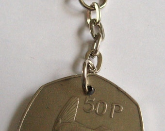1975 Old Large 50p Fifty Pence Irish Coin Keyring Key Chain Fob 43rd Birthday Caoga Pingin