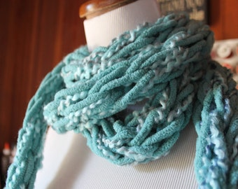 Long Knit Scarf- Soft Chunky Blue, womens fashion accessories, Handknitted Scarf