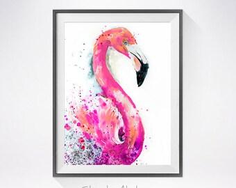 Flamingo 2 watercolor painting print, bird watercolor, Flamingo illustration, Flamingo art, Flamingo painting, bird art, bird print