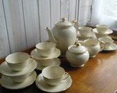 Tea Set Coffee Service 10 Place Setting cream Gold French Vintage Villeroy Boch