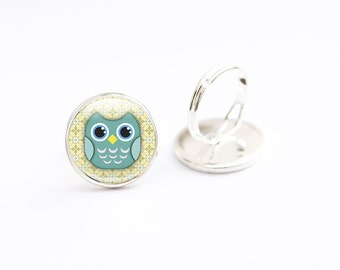 Owl Ring, Adjustable Ring,  Photo Glass Ring  Picture ring, Art Jewellery, Owl jewelry, bird ring, Photo Jewelry, Green Yellow ring