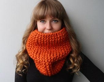 SALE - Knit Chunky Cowl / Chunky Infinity Scarf / Pumpkin Spice / Burnt Orange / Carrot / Red-Yellow /  Bright Orange / Autumn