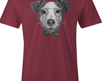 Dog Lover T Shirt - Jack Russel T Shirt - American Apparel Mens Poly Cotton T-Shirt - Item 1758