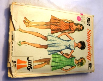 Vintage 1960s Simplicity 8157 teen size jiffy dress with 3 necklines flip skirt sewing pattern
