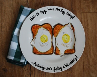 Fried Eggs on Toast Breakfast Fun Food Hand Painted Dinner Plate