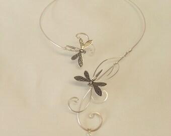 Bermuda Blue Swarovski elements silver dragonfly torc necklace collar