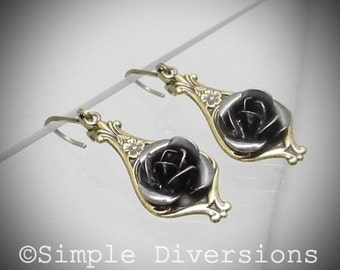 Victorian Gothic Earrings Gun Metal Rose Neo Victorian Steampunk Simple Diversions