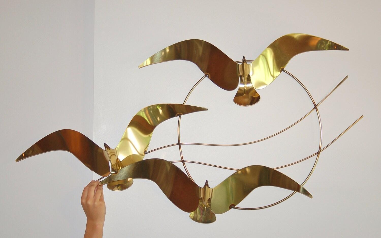 Signed Curtis Jere Birds Migration Brass Sculpture Large Mid