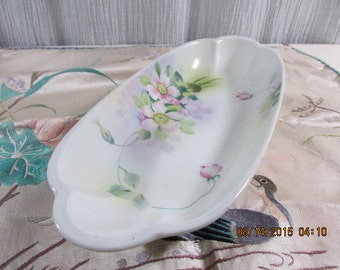 Elegant & Beautiful Nippon Hand Painted Porcelain Oblong Serving Anything Bowl
