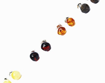 Baltic Amber 'Dot' studs with sterling silver back finding. Comes with lovely gift box. Perfect gift