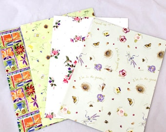 4 Sheets Floral Wrapping Paper Lot, Valerie Pfeiffer, Bonnie Runge, Floral Paper, Hummingbirds, Birds, Farida Zaman, Scrapbook Paper, WWF