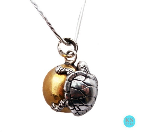 Solid sterling silver turtle harmony ball chime pendant 925 like this item aloadofball Images