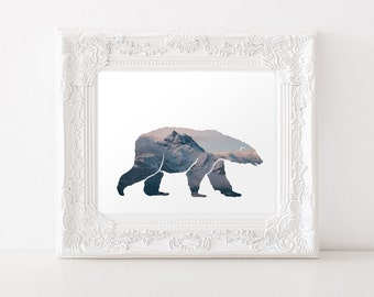 Downloadable Polar Bear Art Print - Polar Bear Silhouette - Polar Bear Download - Mountain Print - Polar Bear Printable - Polar Bear Decor