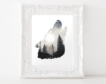 Wolf Art Print - Wolf Silhouette - Forest Art - Wolf Decor - Wall Art - Office Decor