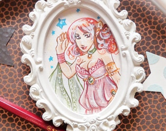 Frame with original illustration in watercolor - Red Elf