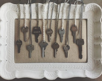 24' Vintage Key Necklace - Stamped Key Necklace - Repurposed Keys - Grace Co. Key Necklace // by Grace Co. Handmade