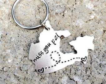 Canada or Canadian Province Keychain Best Friends Long Distance Relationship Gift - Alberta, British Columbia, Ontario, Quebec