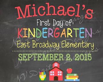 back to school chalkboard- First Day of School Chalk Sign- Digital File 11x14