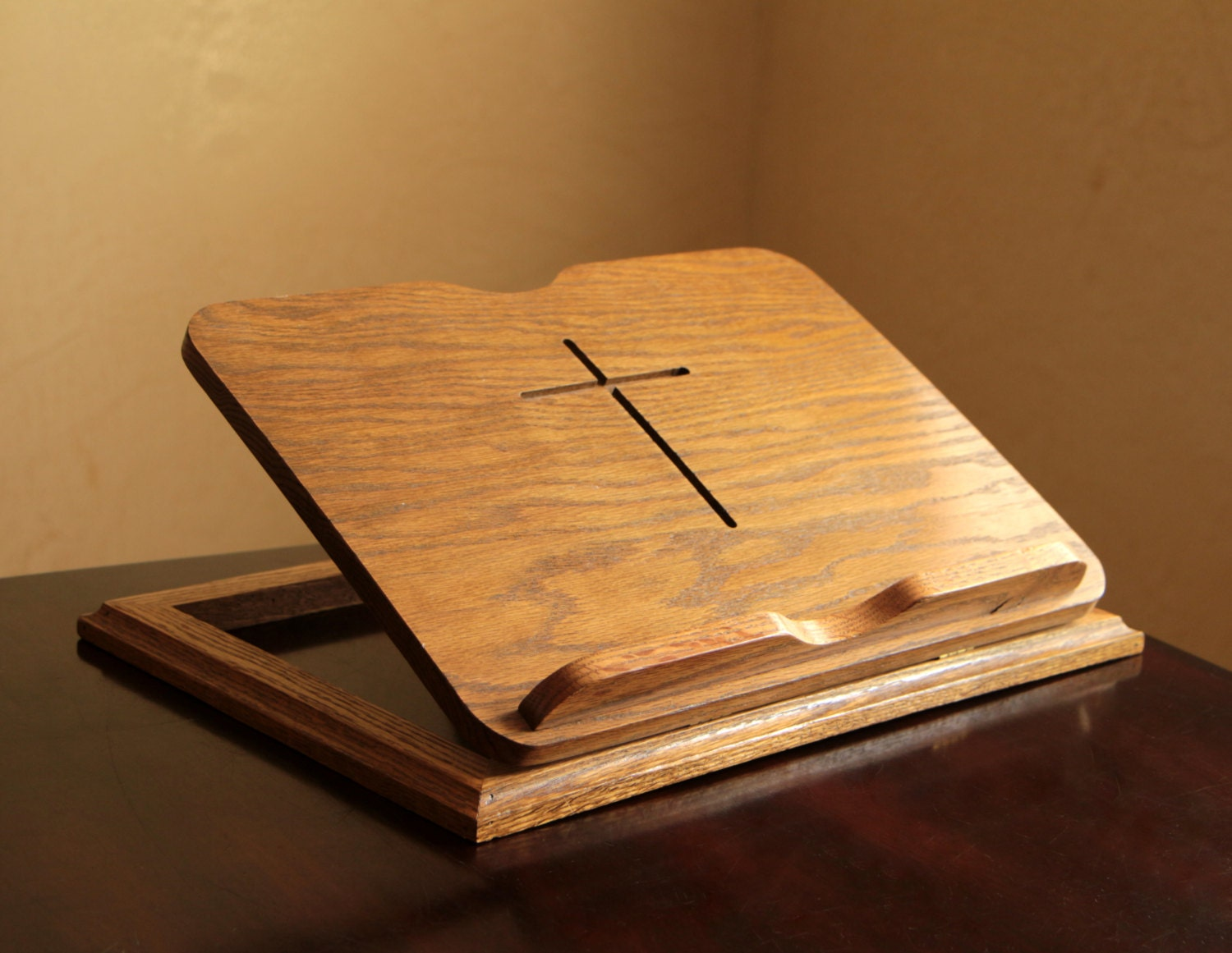 Wooden Bible Stand ~ Vintage adjustable wood bible stand wooden book holder