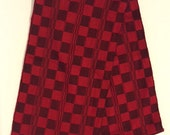Infinity Scarf- Red and Black Check Design- 75 inches long x 9.5 inches wide- Handmade in Ecuador