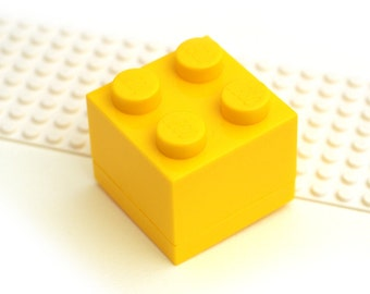 GIFT BOX Yellow brick for small cufflinks. For small Cuff links made with LEGO(R) bricks.