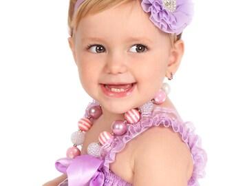 Lavender Baby Headband, Newborn Headband, Lilac Flower Baby Headband, Baby headbands, Baby girl headbands, Baby hair bows, Bows, Hair Bows