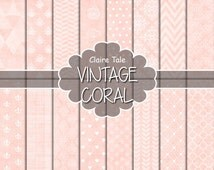 "Coral digital paper: ""VINTAGE CORAL PAPER"" with triangles, damask, lace, chevrons, polka dots, crosshatch, quatrefoil on vintage background"