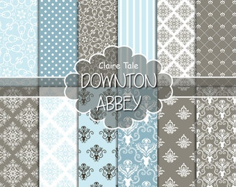 """Damask digital paper: """"DOWNTON ABBEY DAMASK"""" with blue and brown damask backgrounds and classical damask patterns for scrapbooking"""