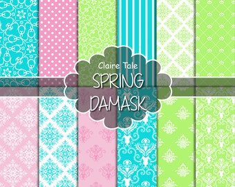 """Damask digital paper: """"SPRING DAMASK"""" with green, pink and turquoise damask backgrounds and classical damask patterns for scrapbooking"""