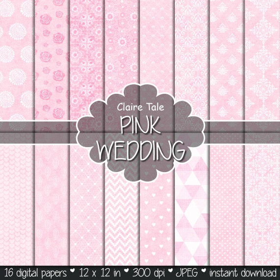 "Wedding digital paper: ""PINK WEDDING PAPER"" with damask, roses, flowers, lace, polka dots, triangles, hearts, chevrons. leaves patterns"