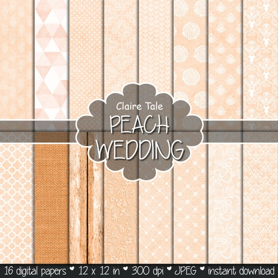 "Coral digital paper: ""PEACH WEDDING"" with peach coral damask, lace, quatrefoil, flowers, hearts, polka dots, triangles, stripes, linen, wood"
