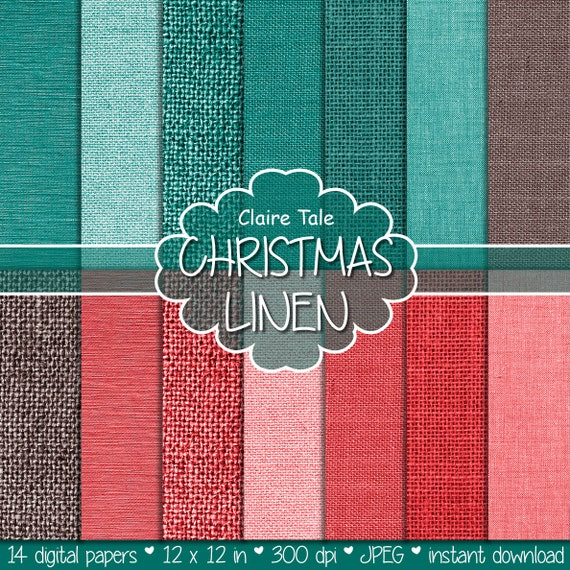 """Christmas linen paper: """"CHRISTMAS LINEN & BURLAP"""" paper with xmas linen, canvas, burlap digital texture background in red, green, brown"""