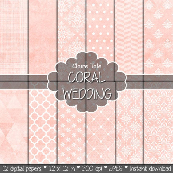 Coral digital paper, Coral wedding paper, Coral background, Coral printable invitation paper, Coral scrapbooking paper, Coral patterns