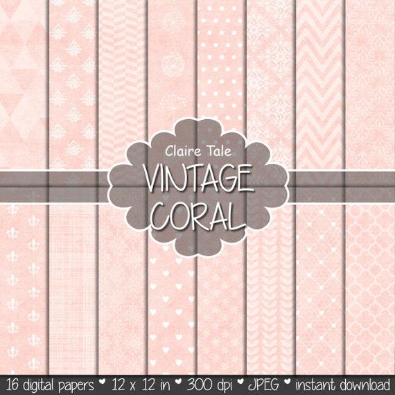 "Coral digital paper: ""VINTAGE CORAL PAPER"" with triangles, damask, lace, chevrons, polka dots, crosshatch, quatrefoil on vintage background"