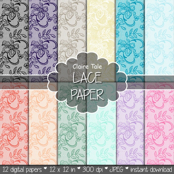 """Lace digital paper: """"LACE PAPER"""" with pink, lavender, purple, blue, coral, red, mint, green, gold, black lace backgrounds; wedding lace"""