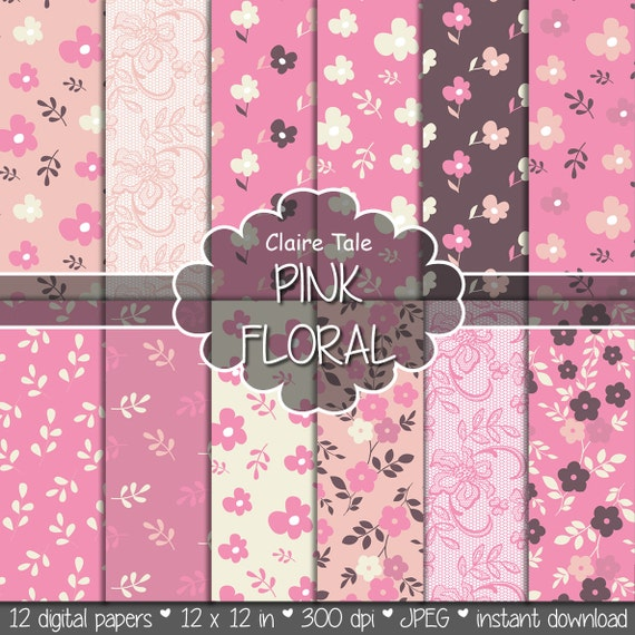"Flower digital paper: ""PINK FLORAL PAPER"" pink floral background / pink flower, leaves, lace pattern / pink floral background"