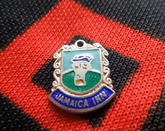 Enamel Sterling Jamaica Charm Jamaica Inn Travel Shield Crest Charm Sterling Silver Charm for Bracelet from Charmhuntress 02239