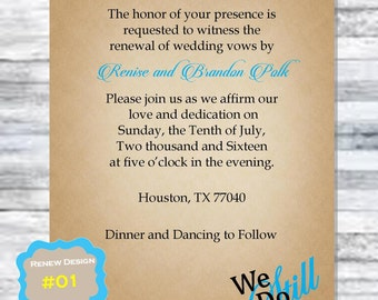 Vow Renewal Invites - 5 x 7 - Printable