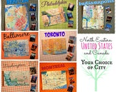 Miniature Map +Travel Guide Set * Pick A City: Philadelphia Boston Indianapolis Baltimore Washington DC Montreal Toronto 1/6 scale playscale