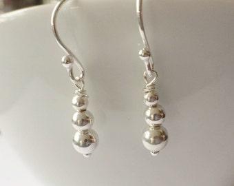Long Silver Bead Dangle Earrings, Sterling Silver Ball Earrings, Bridal Jewelry, Silver Jewellery, Bridesmaid Gift, 925 Long Ball Earrings